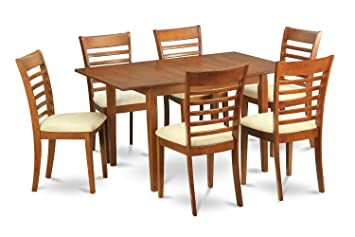 East West Furniture MILA7-SBR-C 7-Piece Kitchen Nook Dining Table Set