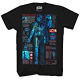Star Wars Darth Vader Schematic Blueprint Lightsaber Adult Mens Graphic Tee T-Shirt Apparel Black (Small) (Color: Black, Tamaño: Small)
