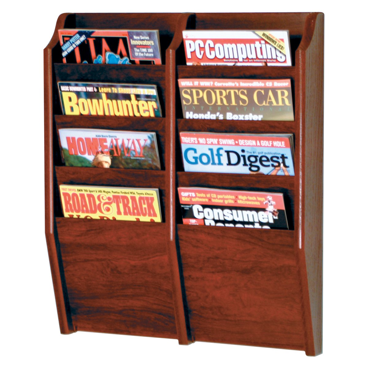 Wall mounted magazine rack shelf organizer wood display for Magazine racks for home