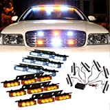 54 LED 3 Flahing Modes Vehicle Windshield Dash Deck Grille Strobe Flash Emergency Hazard Warning Strobe Light Bar (Color: White & Yellow, Tamaño: one size)