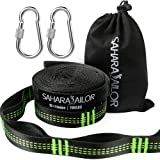Sahara Sailor Hammock Straps XL (Set of 2), Adjustable Hammock Tree Hanging Straps 1400+ LBS Heavy Duty Non-Stretch Suspension System Kit (2 Stainless Steel Carabiners Included) (Color: Black-Green, Tamaño: XL)