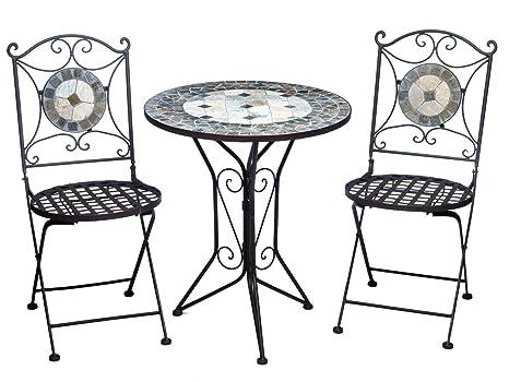 Garnitur Gartentisch 2 Stuhle Eisen Fliesen Mosaik Garten Tisch Stuhl antik Stil