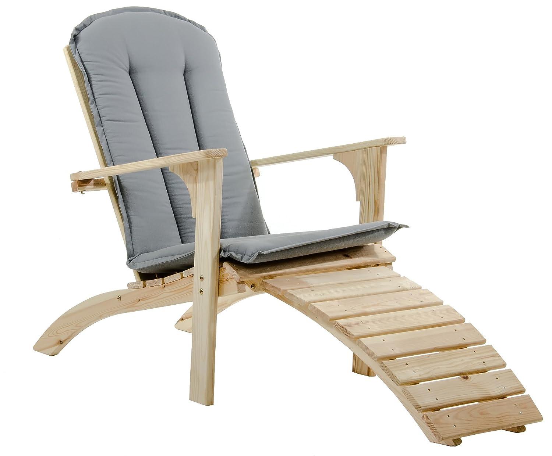 Ambientehome Adirondack Chair Deckchair Liege Gartenliege Massivholz inkl. Fussteil mit Kissen FALUN, Natur