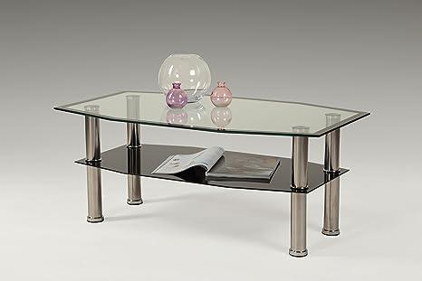 Glascouchtisch,  B100 x T60 x H42 cm, ESG Glasplatte Schwarz, Metallgestell Chrom  Apollo