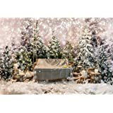 Leyiyi 10x8ft Enchanted Snowing Forest Backdrop Merry Christmas Pine Tress Woodland White World Bokeh Light Wood Pile Candle Photography Backgroud Happy New Year Photo Studio Prop Vinyl Wallpaper (Color: DBK11227, Tamaño: 10x8ft)