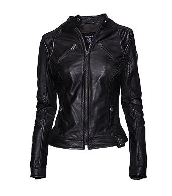 TIGHA Damen Lederjacke Gipsy Bikerjacke Jacke Leder - Leder - schwarz