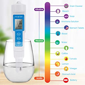 Pocket Digital PH Meter Tester Aquarium LCD Pen Monitor PH 0.0-14.0 PH with ATC, Control of Quality Water and ph, Swimming Pools, Household Drinking a