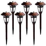 GIGALUMI Solar Pathway Lights Outdoor, 6 Pack Super Bright High Lumen Solar Powered LED Garden Lights for Lawn, Patio, Yard (Color: Warm White)