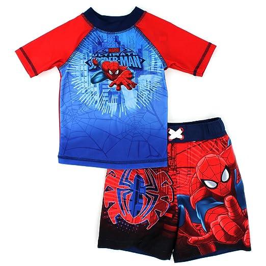 DC Comics Marvel Nickelodeon Rash Guard and Trunks Swimwear Set (3T, Spider-Man Red)
