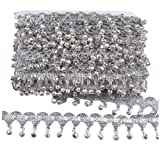MELADY Pack of 10yards Bell Sequins Lace Tassel Dance Clothing Accessories Fringe Trim (Silver) (Color: silver)