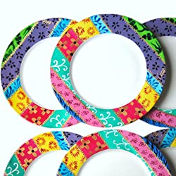 hand painted colourful rainbow plates