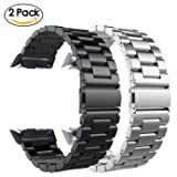 Gear S2 Bands, CAGOS Metal Stainless Steel Bracelet Strap Mesh Bracelet Strap for Samsung Gear S2 Smart Watch SM-R720/R730 Women Men (Metal Black+Metal Silver) (Color: Metal Black+Metal Silver)