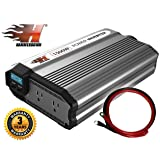 KRIEGER HammerDown 1500 Watt 12V Power Inverter - Dual 110V AC outlets, Automotive back up power supply for refrigerators, microwaves, vacuums, power tools MET approved to UL and CSA (Tamaño: 1500 Watt)