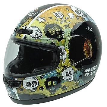 NZI 050265G682 Class Graphics Grunje Skulls, Casque de Moto, Taille S Multicolore