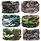 KALILY 6PCS Headband Bandana - Versatile CAMO Sports & Casual Headwear –Multifunctional Seamless Neck Gaiter, Headwrap, Balaclava, Helmet Liner, Face Mask for Camping, Running, Cycling, Fishing etc (Color: Camo J (6PCS), Tamaño: Medium)