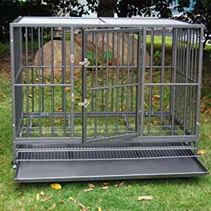 Heavy Duty Pet Dog Cage Strong Metal Crate Kennel Playpen w/Wheels&Tray (48'' Snow Gray) (Color: Grey, Tamaño: 48)