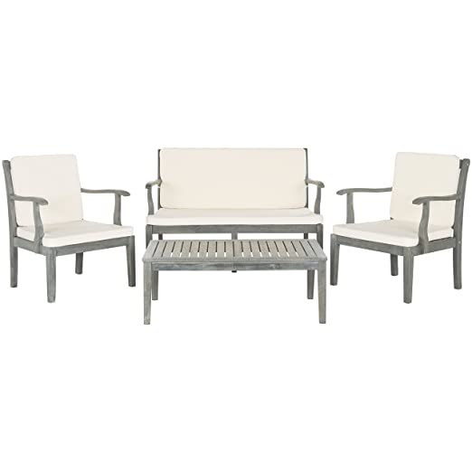 Safavieh Outdoor Living Collection Del Mar 4-Piece Outdoor Living Set, Ash Grey