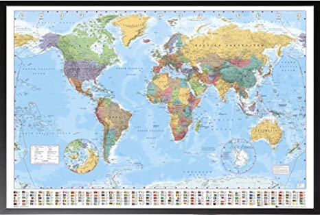 Large World Map Framed Framed World Map Flags at