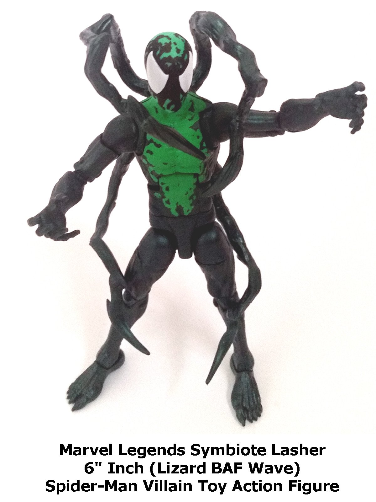 "Review: Marvel Legends Symbiote Lasher 6"" Inch (Lizard BAF Wave) Spider-Man Villain Toy Action Figure"