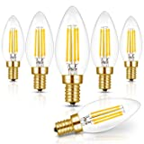 Hizashi Fully Dimmable 90+ CRI E12 LED Filament Bulb, 40W Equivalent, E12 LED Bulb, 450 Lumen, B10 CA10 LED Candelabra Bulbs 5000K Daylight White, UL Listed (Color: Daylight White, Tamaño: 6 Pack)
