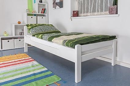"Holzbett ""Easy Sleep"" K1/2n, Buche Vollholz massiv weiß lackiert - Maße: 90 x 190 cm"