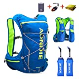 TRIWONDER Hydration Pack Backpack 10L Deluxe Running Race Hydration Vest Outdoors Mochilas for Marathon Running Cycling Hiking (Blue&Green - with 2 Soft Water Bottles (350ml), L-XL) (Color: Blue&Green - with 2 Soft Water Bottles (350ml), Tamaño: L/XL - 38.2-42.9in)
