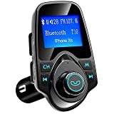 Bluetooth FM Transmitter for Car, TopElek Wireless Radio Transmitter Audio Adapter, Hands-Free Car Kit Charger 1.44'' LCD Diaplay, Music Player with 2 USB Ports, AUX Input/Output, TF Card (Color: Black)