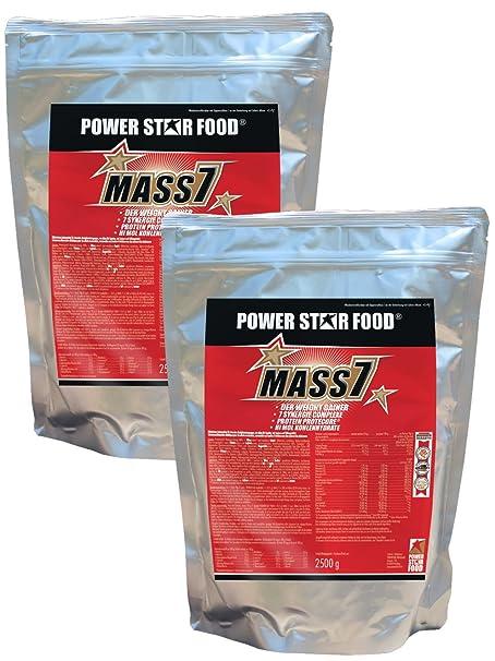 MASS 7 Weight Gainer der Extraklasse, 2 Beutel à 2500 g, 7 Nährstoff-Kombinationen zur schnellen Gewichtszunahme. Geschmacksrichtungen unter Vermerk angeben