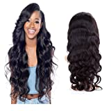 H&N Hair Brazilian Virgin Hair Lace Front Wigs Body Wave Human Hair Wigs For Black Women 130% Density with Baby Hair Natural Color 12inch (Tamaño: Lace Front Wigs 12 inch)