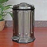 ZXJshyp High-Grade Antique Trash Can, Creative Household Pedal Box, Stainless Steel Bathroom Sink Box 10L / 6L Wastepaper Basket (Size : 10L-2642CM) (Tamaño: 10L-26*42CM)