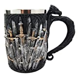 Atlantic Collectibles Medieval Dragon Iron Throne Of Swords Mug Beer Stein Tankard Coffee Cup 5.25