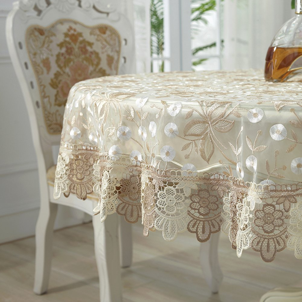 QXFSMILE Beige Lace Tablecloth Embroidered Dandelion Table Cover Round 60 Inch