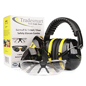 TRADESMART Shooting Earmuffs and Anti Fog Scratch Resistant Safety Glasses Combo Pack/Kit (2pk Clear-Tint) (Color: Yellow & Black)