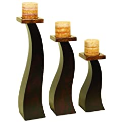 Wood Candle Holder Set Of 3 An Special Occasion Decoration by Benzara