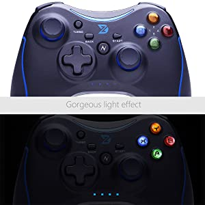 ZD-N+[2.4G] Wireless Gaming Controller for Steam,Nintendo Switch,PC(Win7-Win10),Android Tablet,TV Box (Blue) (Color: Blue)
