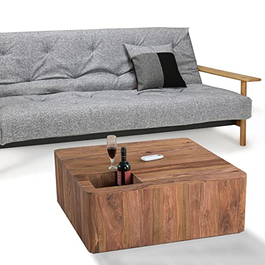 Lounge Zone Stylish Coffee Table-Living Room Coffee Table/Penaali Shelf Sheesham Solid Wood Sheesham Wood Naturgemasert Stone Finish 90x 90cm 13566