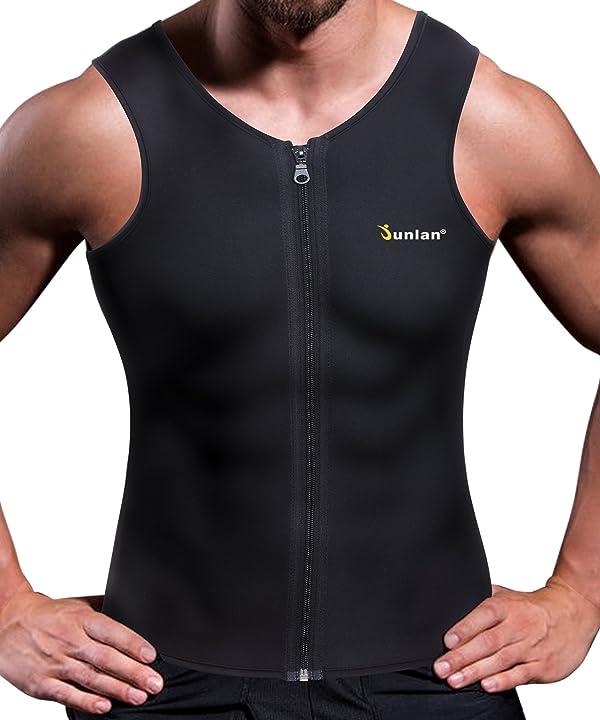 Junlan Men Sweat Waist Trainer Tank Top Vest Weight Loss Neoprene Workout Shirt Sauna