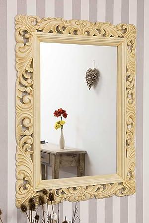 Ivory Vintage Ornate Carved Wood Mirror