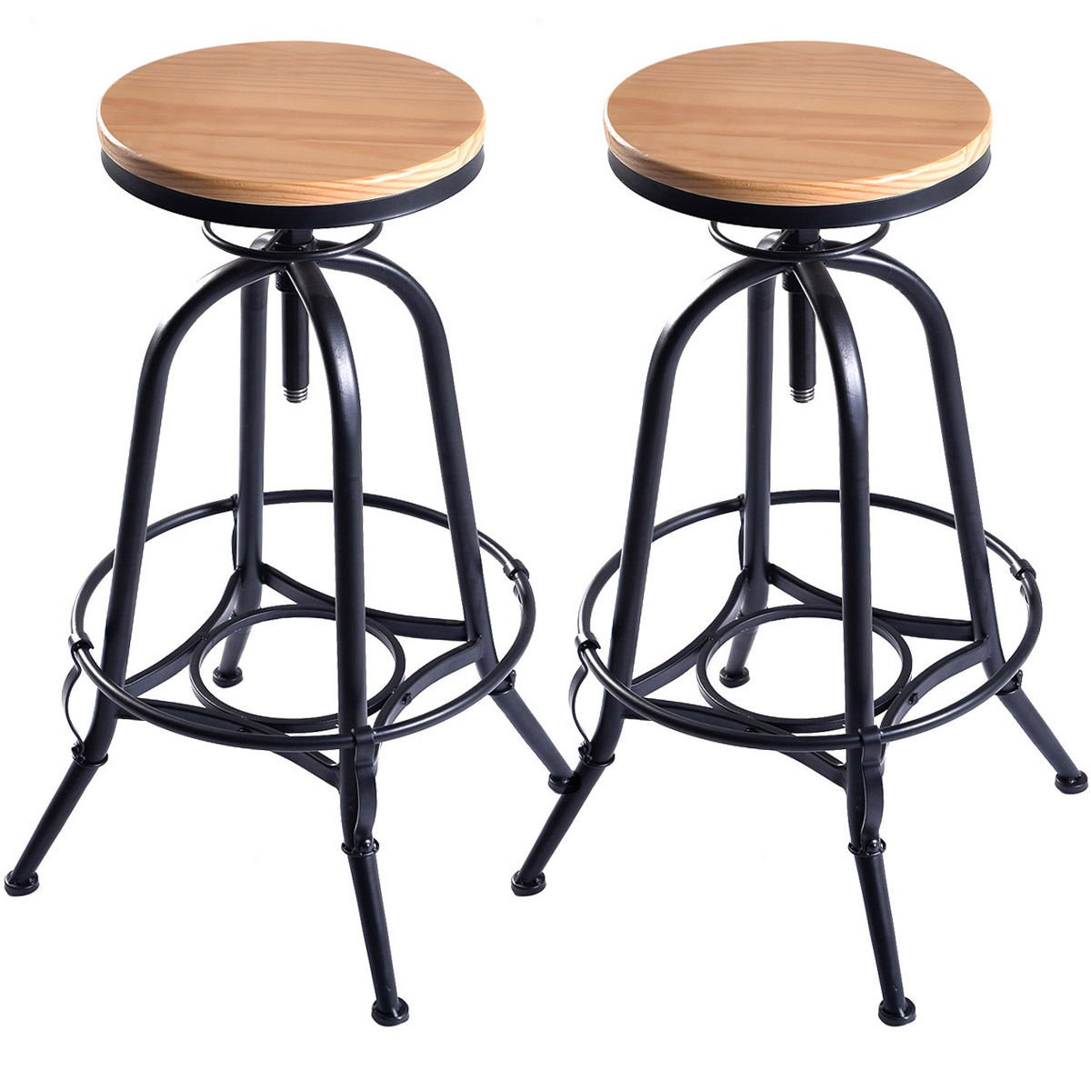 Costway Vintage Bar Stool Metal Frame Wood Top Adjustable Height Swivel Industrial (2Bar Stools)
