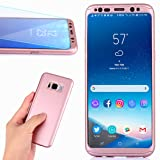Samsung Galaxy S8 Plus Case,Full Body Ultra Thin Lightweight Case Dual Layer Protection Matte Surface Flexible Hard PC Cover With A Soft HD Screen Protector as Gift for Galaxy S8 Plus(Rose) (Color: rose 1)