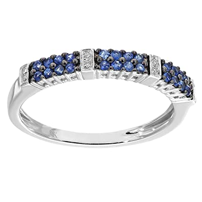 Naava 9 ct White Gold 0.25ct Blue Sapphire and Diamond Eternity Ring - Size P