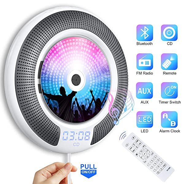 Bluetooth CD Player Portable Wall Mountable Gueray Built-in HiFi Speakers with LCD Screen Display Home Audio FM Radio USB MP3 Music Player 3.5mm AUX Jack Cable Switch & Remote Control White