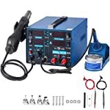 Happybuy 853D-USB 2A 3 in 1 Soldering Station 110V Hot Air Rework Station Digital Display Soldering Iron Station with Accessories