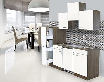 respekta Einbau Mini Single Kuche Kuchenblock 180cm Eiche York Nachbildung Weiß
