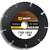 Wood Cutter GRAFF Termit 5-Inch, Angle Grinder Wood Cutting Wheel, Thin Cut of Laminate, Wood, Plastic (125 mm) Speedcutter (Tamaño: 5 inch (125 mm))