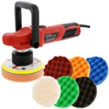 TCP Global Model EP-502-6 Variable Speed Random Orbit Dual-Action Polisher with a 6 Pad (Waffle Foam & Wool) Professional Buffing and Polishing Kit - Buff, Polish & Detail Car Auto Paint
