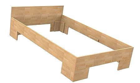 Baßner Holzbau 18mm Echtholzbett Massivholzbett Buche 120x200 Fuß II 44cm Rahmenhöhe