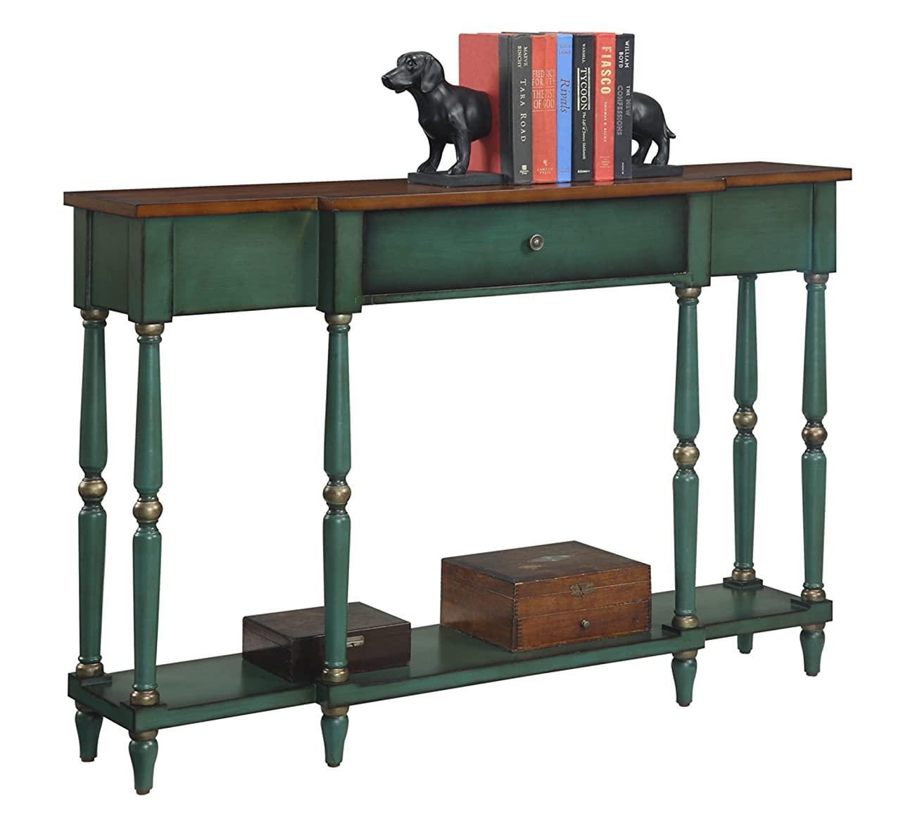 Convenience Concepts Wyoming Two Tone Antique Console Table 1