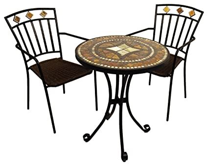 "EUROPA LEISURE ZE/0TRLOS-02MAL0 60 x 60 x 73 cm ""Torello"" Bistro Table with 2 Malaga Chair Set - Earthy Tones"
