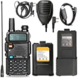 Walkie Talkie UV-5R Pro 8-Watt Dual Band Two Way Radio with one More 3800mAh Battery and Handheld Speaker Mic and NA-771 Antenna and USB Programming C